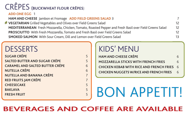 Deli, Myrna's Kitchen Stamford, CT Crêpes, Desserts and ...
